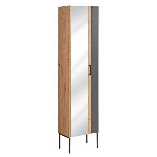 Grafitowy industrialny słupek łazienkowy z lustrem - Saloma 4X, kolor szary