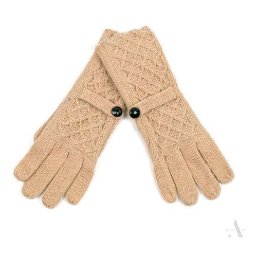 Beżowe rękawiczki damskie z ozdobną kratką i guziczkiem - beżowy