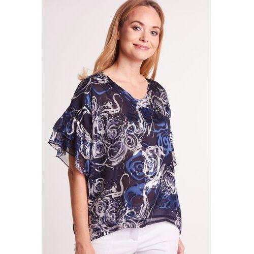 Wzorzysta bluzka z motylkowym rękawkiem - Duet Woman