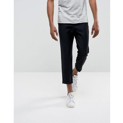 Bellfield Cropped Trousers With Pleated Front - Black, kolor czarny