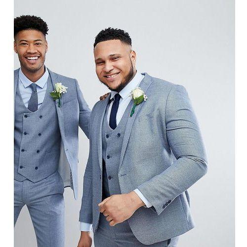 Asos design plus wedding skinny suit jacket in light blue micro texture - blue