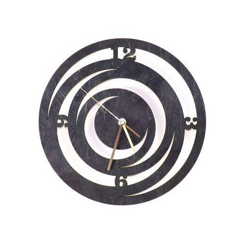 Drewniany zegar na ścianę spirale ze złotymi wskazówkami marki Congee.pl