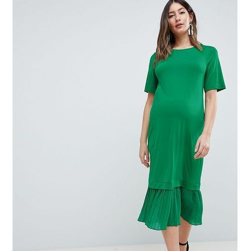 ASOS DESIGN Maternity midi t-shirt dress with pleated hem - Green