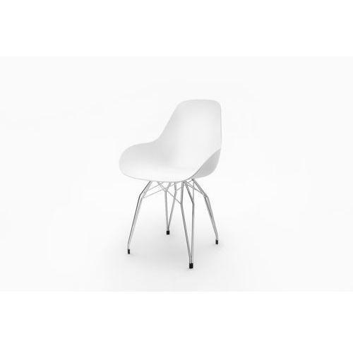 Kubikoff:: Krzesło Diamond DIMPLE closed (białe) - białe (podstawa chrom)