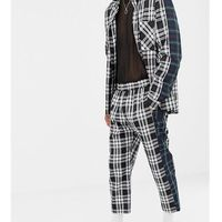 Milk It Vintage relaxed check trousers with contrast side stripe - Black, kolor czarny