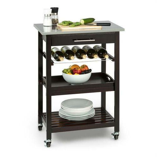 Klarstein vermont wózek kuchenny wózek do serwowania szuflada regał na wino stal szlachetna (4260486151481)