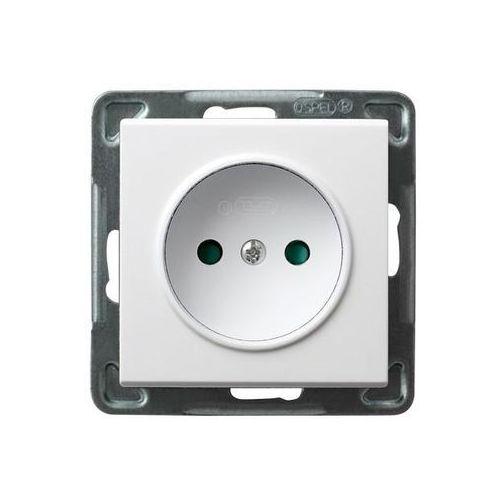 Gniazdo pojedyncze bez uziemienia z przesłonami Biały - GP-1RP/m/00 Sonata, GP-1RP/M/00