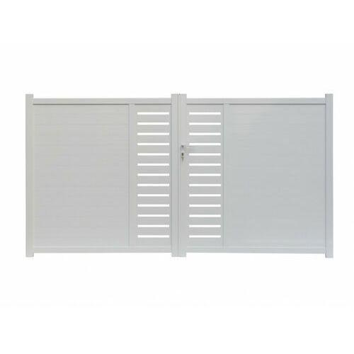 Vente-unique Brama uchylna z wzorzystego aluminium gateo biała - 300x160 cm