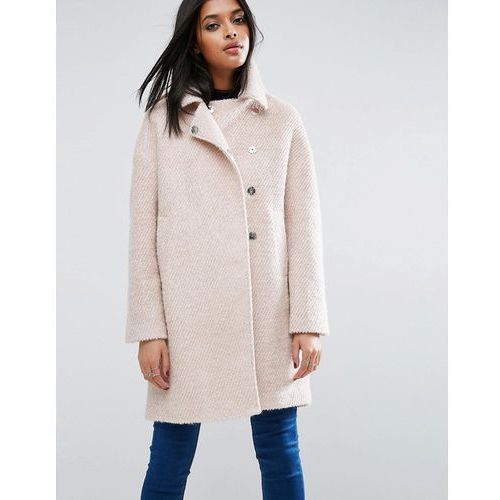 ASOS Oversized Cocoon Coat with Funnel Neck in wool Mix and Boucle Texture - Pink - produkt z kategorii- Pozostałe