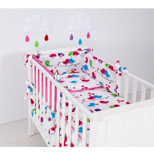 ochraniacz rozbieralny do łóżeczka 60x120 ptaszki białe / ciemny róż marki Mamo-tato