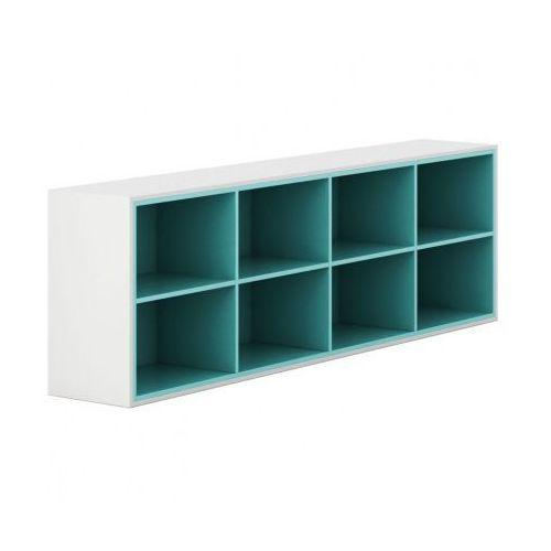 Plan Szafka otwarta długa white layers, turkusowe półki