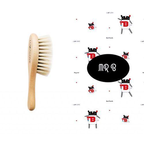 Miękka szczotka z koziego włosia z myjką muślinową Lullalove - MR. B 5902633251253