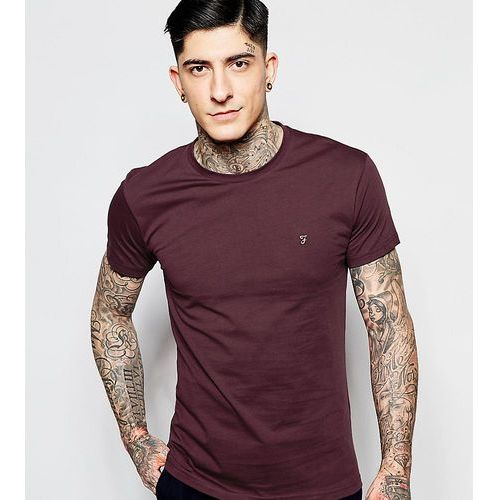 Farah Farris slim fit logo t-shirt in burgundy Exclusive at ASOS - Red