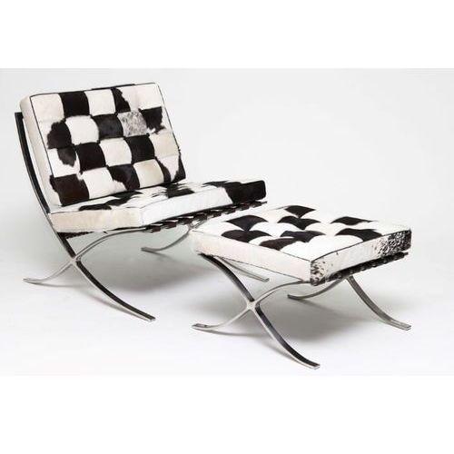 D2.design Fotel z podnóżkiem ba1 skóra pony naturalna
