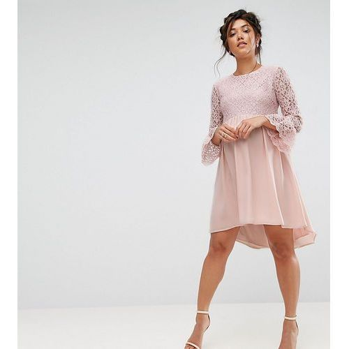 Queen Bee Lace Hi Lo Smock Dress With Ruffle Sleeve - Pink, kolor różowy
