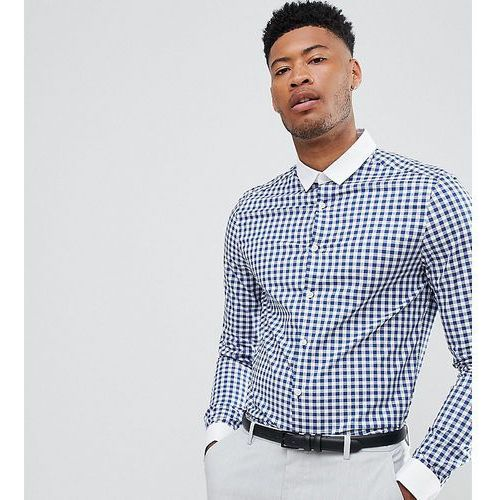 Asos tall smart stretch slim shirt with contrast collar and double cuffs - blue