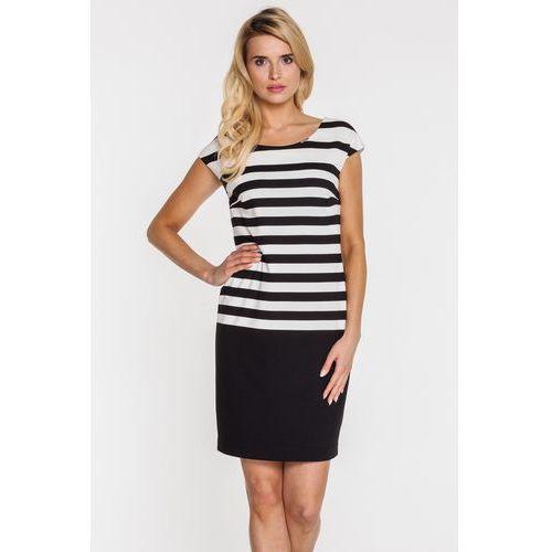 Sukienka w biało-czarne paski - Vito Vergelis, kolor czarny