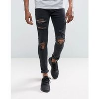 Mennace Muscle Fit Jeans In Washed Black With Distressing - Black