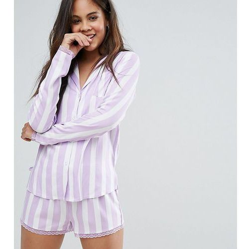 Asos tall  candy stripe shirt and short with lace trim pyjama set - multi