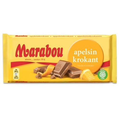 Marabou - apelsinkrokant - czekolada mleczna z kawałkami pomarańczy - 200g - ze szwecji (7310510001231)