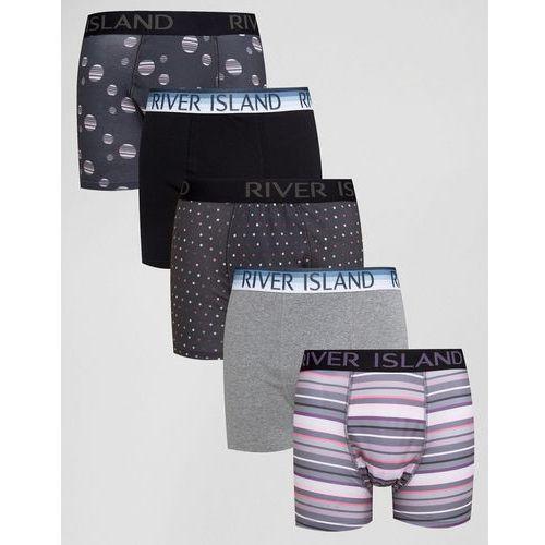 River Island Trunks With Pink Stripes In Black 5 Pack - Black - produkt z kategorii- Pozostałe
