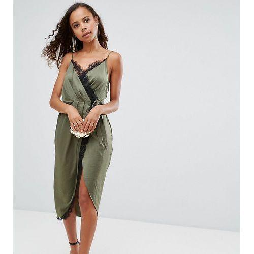 ASOS PETITE Hammered Satin Lace Trim Cami Sexy Wrap Midi Dress - Green