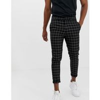 trousers in window pane check - black, New look