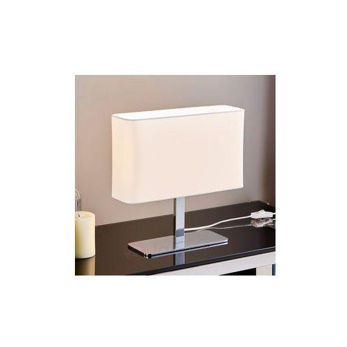 Biała, kanciasta, tekstylna lampa stołowa nisa marki Lampenwelt