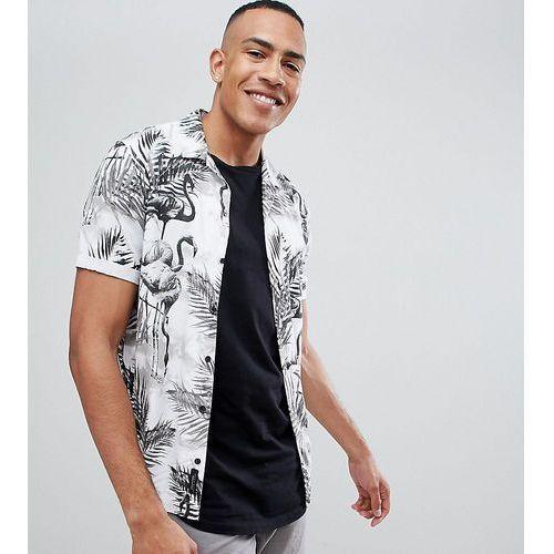 Religion revere collar short sleeve shirt in monochrome flamingo print - white