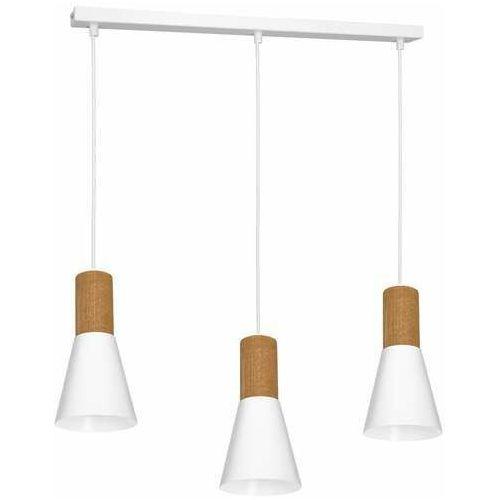 Luminex Edmon 1983 lampa wisząca zwis 3x60W E27 biała/drewniana (5907565919837)