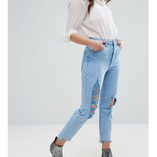 ASOS PETITE FARLEIGH High Waist Slim Mom Jeans In Fran Light Mottled Wash with Super Busts and Stepped Hem - Blue, jeans