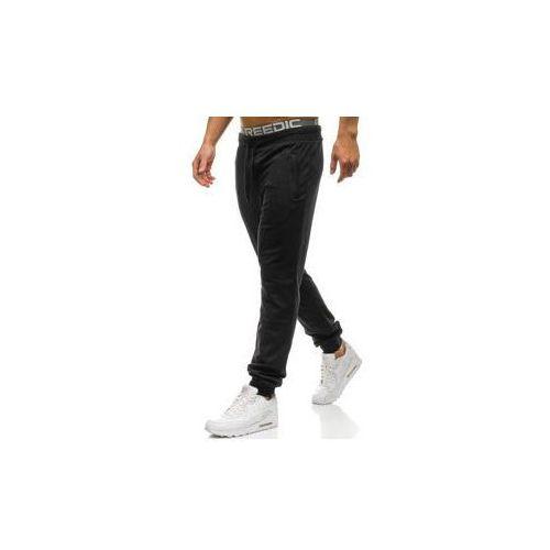 Spodnie męskie dresowe joggery czarne Denley W2669