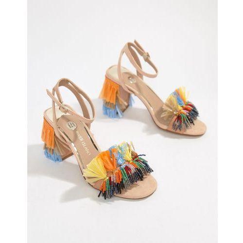 River island tassel block heeled sandals - orange