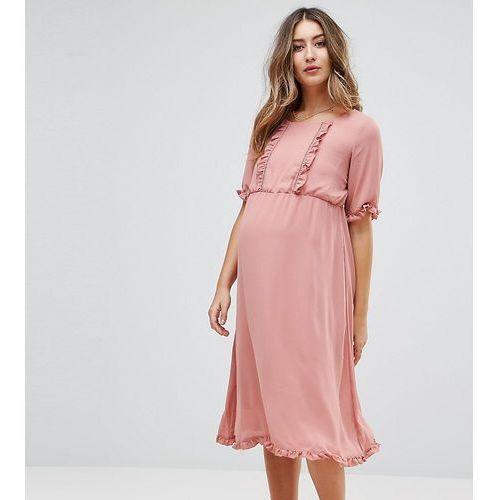 Mamalicious ruffle insert dress - pink marki Mama.licious