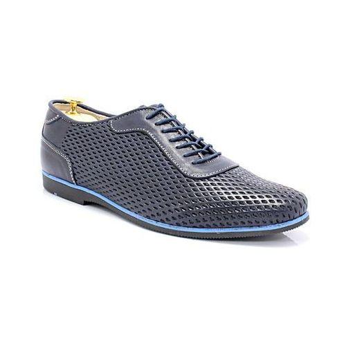 292r granat - stylowe buty męskie casual ze skóry - granatowy, Kent