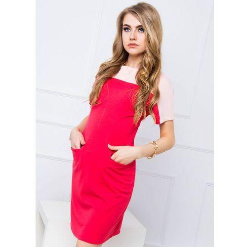 Dwukolorowa sukienka z kieszeniami, kolor wielokolorowy