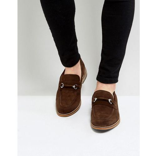 loafers in brown suede with snaffle and natural sole - brown, Asos