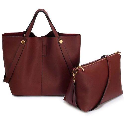 Shopper bag torebka damska burgund - brązowy z odcieniem burgundu marki Wielka brytania