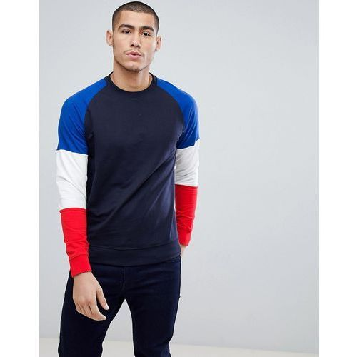crew neck sweat with contrast colour block sleeves - navy marki Only & sons