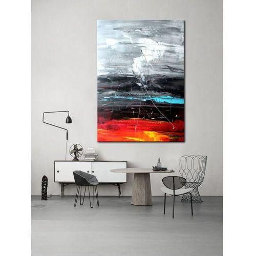Pracownia art.&texture Obrazy do salonu - ręcznie malowane - czerwony, biały, czarny, niebieski