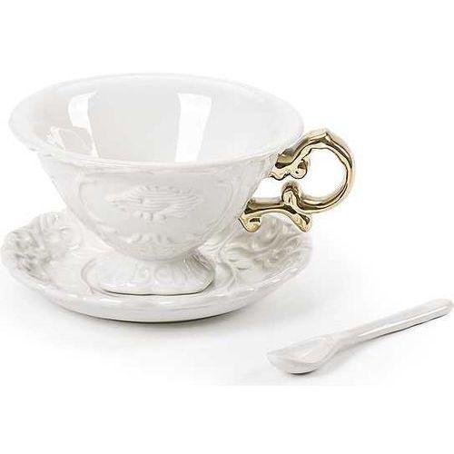 Seletti Filiżanka do herbaty ze spodkiem i łyżeczką i-wares gold