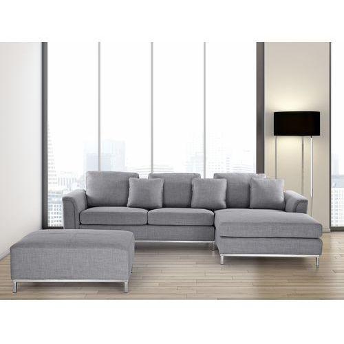 OKAZJA - Sofa narożna z pufą w kolorze jasnoszarym L - kanapa tapicerowana - OSLO