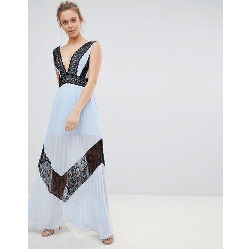 lace insert maxi dress - blue, Glamorous, 36-42