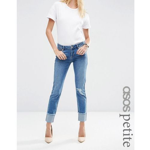 ASOS PETITE Kimmi Shrunken Boyfriend Jeans in Rio Wash with Rips and Turn Up - Blue