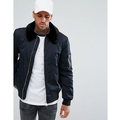 aviator jacket with faux fur collar and ma1 pocket in black - black marki River island