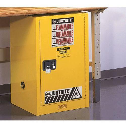 Bezpieczna szafka fm wstawiana pod stół, jednodrzwiowa, samoczynne zamykanie, do marki Justrite