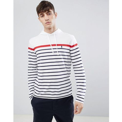 Polo Ralph Lauren varied stripe player logo hooded long sleeve top in white - White, kolor biały