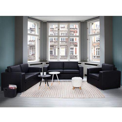 Sofa skórzana czarna 2 x sofy, 1 x fotel HELSINKI (7081458961566)