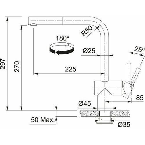 Franke Atlas Neo Sensor stal szlachetna optyczna bateria kuchenna, kolor stal