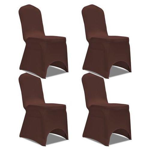 Elastyczne pokrowce na krzesło brązowe 4 szt., kolor brązowy